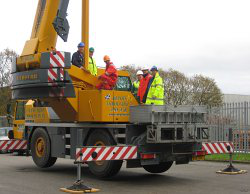 Photo of lifting machinery being inspected