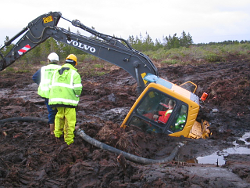 Photo of sinking excavator - safety